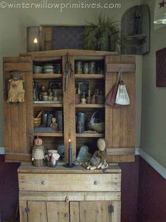 ~Winter Willow Primitives ~ Under The Willow~ Primitive Cupboard...