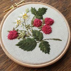 Wild raspberries #embroidery #embroideryhoop #embroideryartist #embroideryart #handembroidery #handmade #handstitched #em_hm #botanical #raspberry #leeds #d2dfest #nature #wildlife #wildflowers