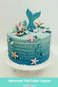 Mermaid Birthday Cake for a Birthday Party Mermaid Tail Cake, Mermaid Cakes, Mermaid Mermaid, Sirenita Cake, Mermaid Birthday Cakes, 2nd Birthday Cakes, Beach Cake Birthday, Birthday Party Foods, 7th Birthday Party For Girls Themes