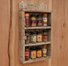 Wooden Spice Rack Wall Mount Interesting Spice Rack  Storage For Spices  Rustic Wood  Kitchen Storage