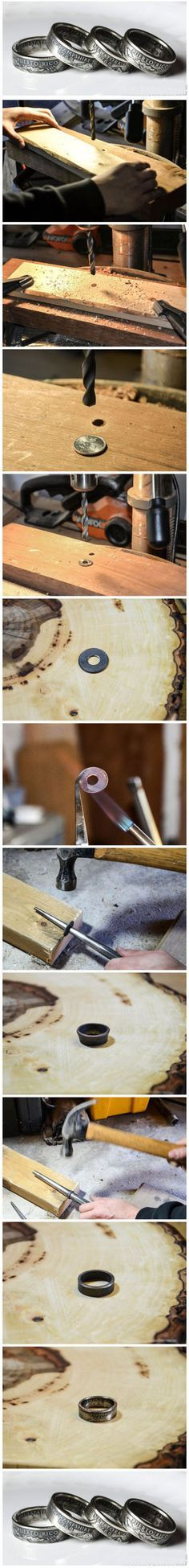 Coin Ring ...how to make a ring out of a circle cut from sheet.... put it through a rolling mill first to texture the metal, cut circles, drill out center, anneal as needed, hammer on a mandrel, switching the way the ring faces on mandrel.... pickle to remove firescale, liver of sulphur, polish.