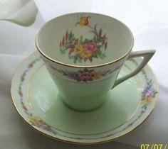 Vintage Vanderwood  teacup   mint green   bone by NewtoUVintage
