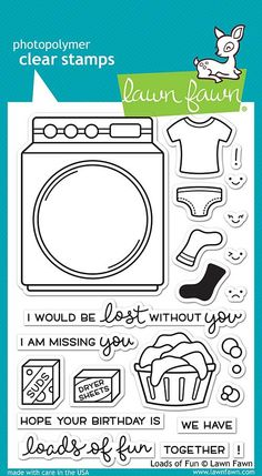 """LAWN FAWN: Loads Of Fun (4"""" x 6"""" Unmounted Clear Acrylic Stamp Set) You'll have loads of fun with this set of clear stamps featuring a laundry machine, socks, suds, sentiments, and other accessories."""