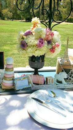 Beautiful Paris baby shower party! See more party planning ideas at CatchMyParty.com!