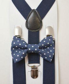 Kids Children Toddler Baby Boys Boy Navy Blue Suspenders & Navy Polka Dot Cotton clip on / pre-tied bowtie bow tie 8 months- ADULT SET