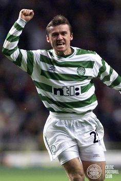 Lubo Moravcik celebrates after scoring Celtic's first goal against Bordeaux in the UEFA Cup in 2000.