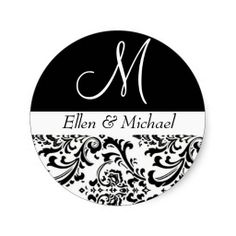 Damask Wedding Monogram Black and White Invitation Round Stickers