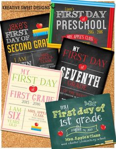 Personalized 1st Day of School Signs.