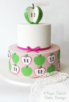 Apple themed birthday cake by Faye Cahill Cake Design Gorgeous Cakes, Pretty Cakes, Amazing Cakes, Themed Birthday Cakes, Themed Cakes, Fondant Cakes, Cupcake Cakes, Cupcakes, Apple Birthday