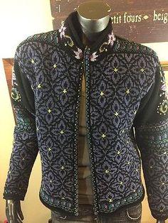 ICELANDIC Design Green Black Purple  Floral Sweater Jacket M Nordic Zip  | eBay