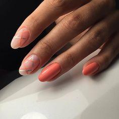 Everyday nails, Gel polish on the nails oval, Nail art stripes, Nails ideas 2017, Oval nails, Ribbon nail art, Two-color nails, Two-colored bright nails