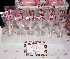Pink leopard baby shower cake pops  wow.lollicakesbyshannon.com