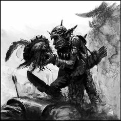 Aftermath of battle; a goblin archer examines his grizzly trophy - a severed Empire soldier's head.