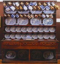 antique Georgian oak dresser (c. filled with original willow-pattern china probably manufactured in Staffordshire Welsh Dresser, Oak Dresser, Kitchen Dresser, Dressers, Blue Dishes, White Dishes, Willow Pattern, Iron Furniture, Blue And White China