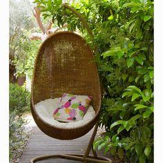 Gungstol med vit dyna by Craftenwood Hanging Chair With Stand, Hanging Swing Chair, Swinging Chair, Rocking Chair, Hanging Basket, Pergola Swing, Pergola Patio, Pergola Kits, Pergola Ideas