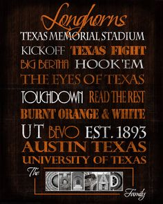 University of Texas Longhorns print