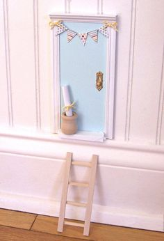 Magic Tooth Fairy Door with little wooden pot perfect for a lost tooth and colorful paper banner