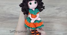 Leithygurumi - Amigurumi Pumpkin Witch Doll for Halloween - English Pattern Watermelon Dress, Magic Circle, Yarn Colors, Amigurumi Patterns, Double Crochet, Crochet Toys, Crochet Stitches, Orange Color, Free Pattern