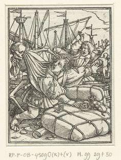 Hans Holbein (II) | Koopman en de Dood, Hans Holbein (II), Hans Lützelburger, 1524 - 1528 | Koopmannen in een haven worden opgeschrikt door de Dood terwijl zij bezig zijn met de handel van waren. Een koopman knielt tussen goederen en telt geld op een baal. In de marge boven de prent staat de tekst Proverbes XXI.