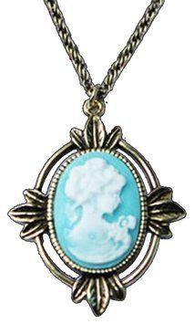 Retro Cameo Blue Lady Charm Necklace NWT