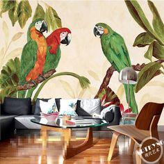 Free Shipping 3D Southeast Asian style retro hand-painted tropical rainforest Banana Leaf Restaurant sofa TV wallpaper mural
