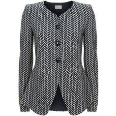 Armani Collezioni Collarless Chevron Peplum Blazer (£599) ❤ liked on Polyvore featuring outerwear, jackets, blazers, tailored blazer, collarless blazers, collarless jacket, peplum blazer jacket and peplum jacket