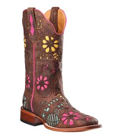 Brown & Pink Flower C-Toe Leather Cowboy Boot - Women | something special every day
