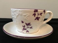 STARBUCKS 2006 WHITE WITH PURPLE FLOWER DESIGN LATTE CUP AND SAUCER