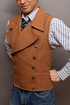 Vest Pattern 1 I cld see this in something little softer, slightly more sweatery. maybe two tone grays, tweedy, . Costume Steampunk, Steampunk Men, Steampunk Clothing, Steampunk Fashion, Mens Fashion, Fashion Outfits, Fashion 2016, Estilo Preppy, Vest Pattern