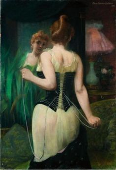 Young woman adjusting her corset by Pierre Carrier-Belleuse, 1893