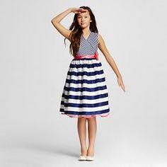 Girls' Young Hearts V-Neck Dress - Blue