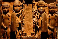 Sculpture showing soldiers from the Ancient Benin city
