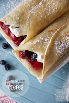 Red, White and Blue Cherry Blueberry Crepes from Tried and Tasty! YUM!
