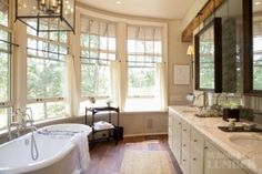 Kate Jackson Design: Traditional style bathroom with curved bay windows covered in white sheer cafe curtains. Luxury Interior Design, Bathroom Interior Design, Bathroom Styling, Kate Jackson, Dream Bathrooms, Beautiful Bathrooms, Luxury Bathrooms, Reclaimed Wood Floors, Wood Flooring