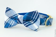 Sullivan's Royal & Navy Plaid Bow tie Dog Collar ~ Adjustable dog collar with removable bow tie ~ It is so darn cute   Crew La La