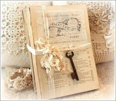 Vintage Book Stack with Skeleton Key - 18.50 -  This is set of Vintage Books  that have been embellished  ~  It measures 9.5 x 6.5 x 2.5 ~  It weighs about 5.25 pounds so  I will see if it will fit in a flat  rate box ~  http://www.katiesrosecottagedesigns.com