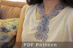 Tatting lace skinny scarf/bracelet pdf pattern Boho by TheKimAndI