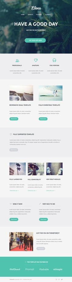 Unique Web Design on the Internet, Elena Email PSD Theme #websitedesign #webdesign #website #design http://www.pinterest.com/aldenchong/