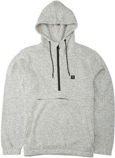 Men's Boundary Hooded Pullover Billabong, Mens Fleece Hoodie, Hoodie Jacket, Division, Half Zip Pullover, Fleece Fabric, Heather Grey, Long Sleeve, Sleeves