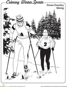 Cross-Country Skiing Coloring Page | Education.com