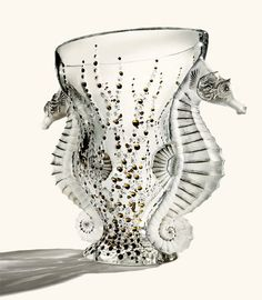 "Lalique ""Poseidon"" crystal vase with 24k gold detail:"