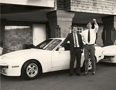Steve Jobs with the Porsche 944s he gave away in a sales competition. Blogged the story on our website.