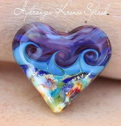 Hydrangea Kronos Splash Heart Bead Handmade lampwork with fine silver | beadsandbotanicals - Jewelry on ArtFire