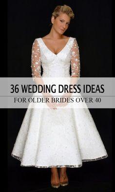 Vintage tea length lace wedding dress for older brides