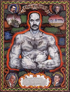 Joe Coleman's portrait of Carl Panzram, featuring his psychiatrist on the bottom left, Henry Lesser (the prison guard who helped Panzram to write his memoirs by supplying paper and pen and became friends with him), and the two philosophical influences and Panzrams favourite authors on the top left and right, Friedrich Nietzsche and Arthur Schopenhauer.