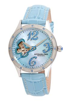 Stuhrling Original Womens Vogue Audrey Freedom Automatic Skeleton Swarovski Mother-Of-Pearl Light Blue Watch Automatic Skeleton Watch, Jewelry Stores Near Me, Skeleton Watches, Butterfly Shape, Bling, Jewelry Branding, Fashion Watches, Watches For Men, Men's Watches
