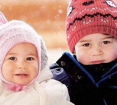 Princess Charlotte of Cambridge and Prince George of Cambridge on holiday with their parents in the French Alps.  2016. Photographer John Stillwell