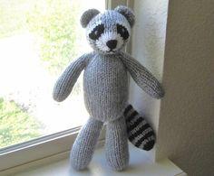 Hand Knit Gray Raccoon Stuffed Animal  Woodland by VeryCarey, $50.00