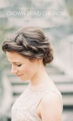 Crown Braid Chignon Tutorial %%ow_categoryName%% - Once Wed