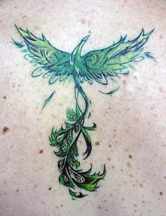 Watercolor+phoenix+tattoo | Green phoenix tattoo | Tattoos